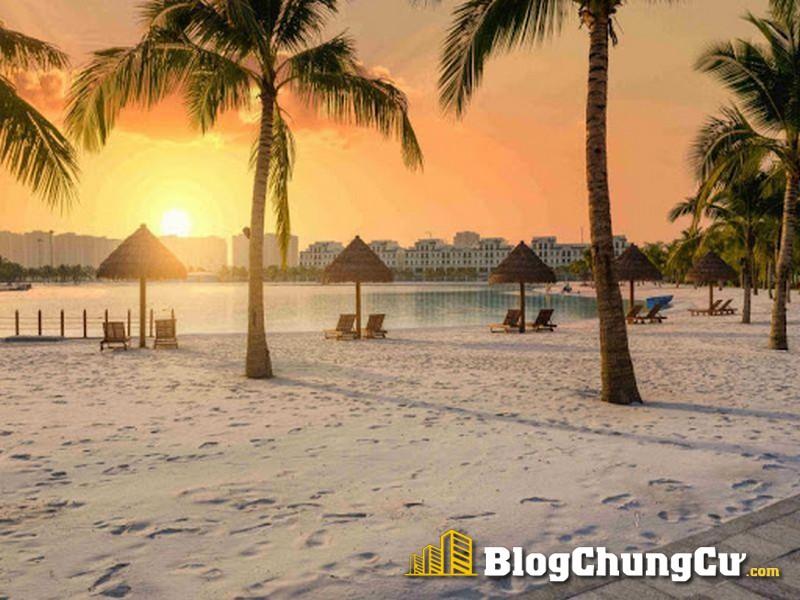 Cảnh hoàng hôn lãng mạn tại biển hồ nước mặn Vinhomes Ocean Park