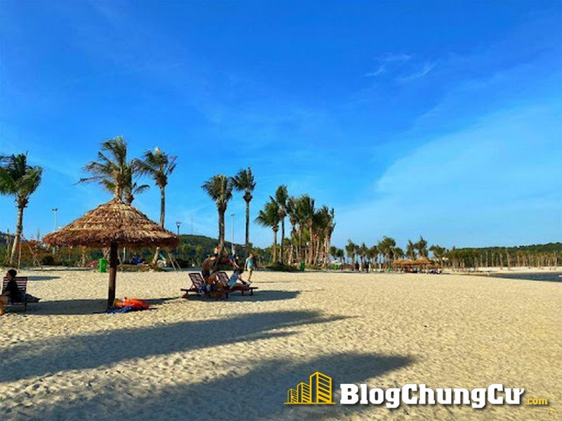 Hàng dừa xanh và bãi cát mịn tại bãi tắm nhân tạo Khu du lịch Đồi Rồng – Đồ Sơn